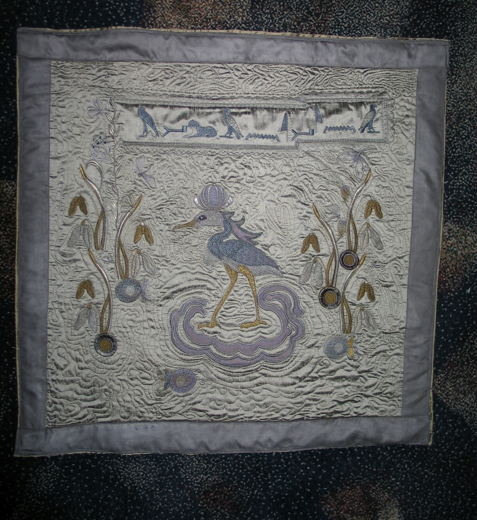 egyptian-bennu-bird-embroidered-quilt-square