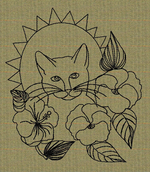 cat-face-with-flowers-redwork-embroidery