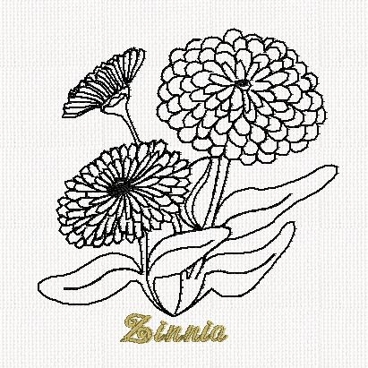 botanical-zinnia-flower-redwork-embroidery