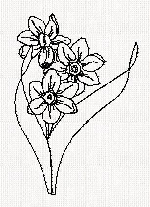 narcissus-flower-redwork-embroidery