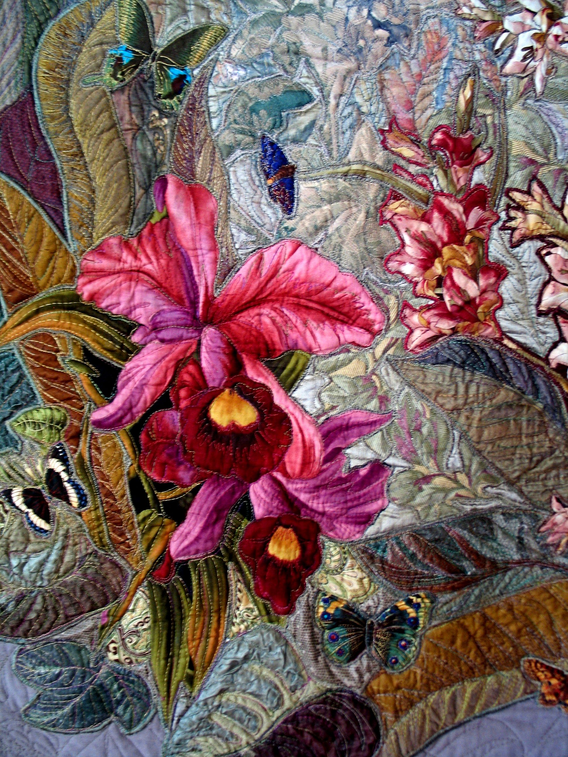 oasis-art-quilt-butterfly-orchid-detail